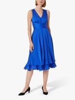 Hobbs Viola Satin Dress, Cobalt