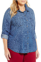 Allison Daley Plus Roll-Tab Sleeve Button Front Denim Shirt