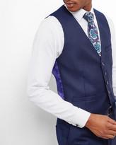 Ted Baker Micro Check Wool Waistcoat Blue