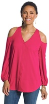 Chico's Cold Shoulder Blouse in Raspberry