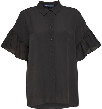 French Connection Crepe Light Ruffle Sleeve Shirt