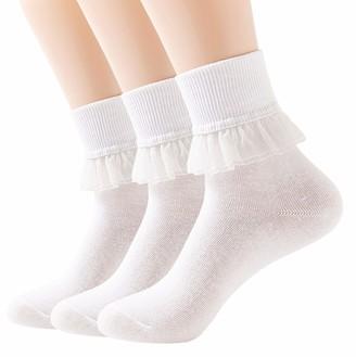 YASIDI Women Lace Ruffle Frilly Ankle Socks Fashion Ladies Girl Princess - white - One Size