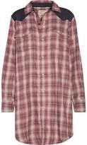 Current/Elliott The Western Denim-Paneled Plaid Flannel Mini Shirt Dress