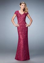 La Femme 23071 Embroidered V Neck Lace Sheath Long Dress