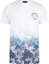 River Island White And Blue Floral Fade T-shirt