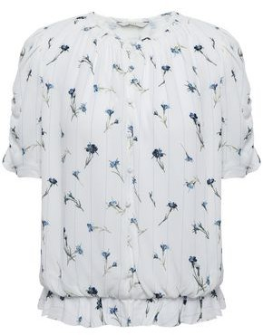 Joie Shirred Ruffle-trimmed Printed Crepe Blouse