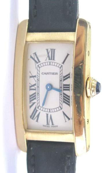 Cartier Tank Americaine 2482 18K Yellow Gold & Leather 35mm Watch