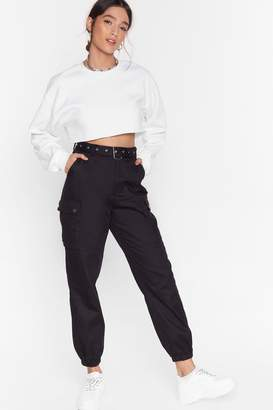 Nasty Gal Womens Cargo Back High-Waisted Belted Trousers - black - 6