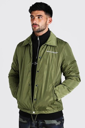boohoo Mens Green MAN Official Nylon Coach Jacket With Borg Collar, Green