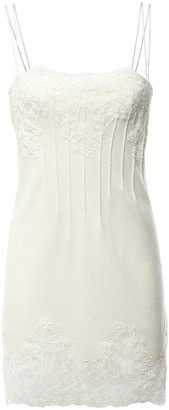 Ermanno Scervino Wool Blend & Lace Knit Bustier Dress