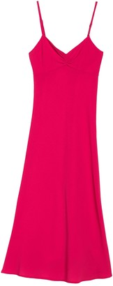 Velvet Torch Ruched V-Neck Midi Slip Dress