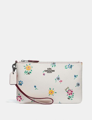 Coach Small Wristlet With Wildflower Print