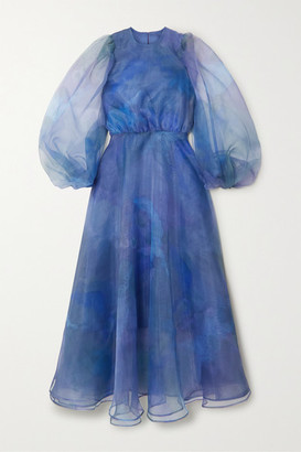 Beaufille Cezanne Printed Organza Maxi Dress - Blue