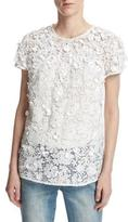 MICHAEL Michael Kors Short-Sleeve Embellished Floral Lace Top, White