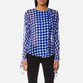 Diane von Furstenberg Women's Tie Neck Slit Blouse Cossier Large Klein Blue