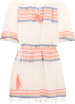 Lemlem Elsi Off-the-shoulder Striped Cotton-blend Gauze Mini Dress - Peach