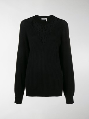 See by Chloe Floral Lace-Panelled Sweater