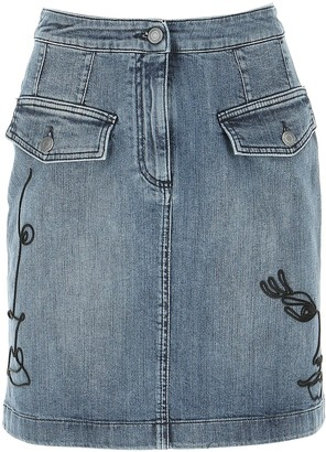 Moschino Embroidered Denim Skirt