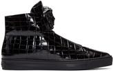 Versace Black Croc-Embossed Medusa High-Top Sneakers