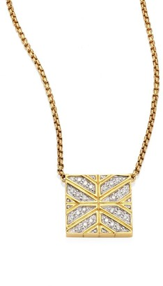 John Hardy Modern Chain Diamond & 18K Yellow Gold Pendant Necklace