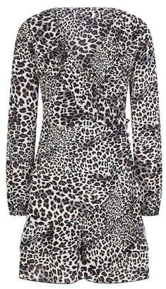 Dorothy Perkins Womens Girls On Film Leopard Print Ruffle Hem Wrap Dress
