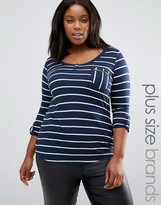 Junarose Plus Striped T-Shirt With Zip Pocket Detail