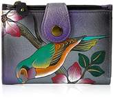 Anuschka Anna By Anchka, Handpainted Leather Ladies Wallet, Bird On A Branch Grey Wallet,One Size