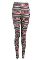 Select Fashion Fashion Womens Red Stripe Aztec Fleece Legging - size 8