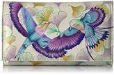 Anuschka Handpainted Leather Checkbook Wallet / Clutch,wings Of Hope Wallet