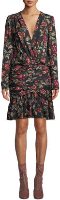 A.L.C. Haven Shirred Floral Silk Cocktail Dress