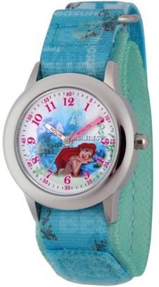Disney Princess Ariel Girls' Stainless Steel Time Teacher Watch, Blue Hook and Loop Stretch Nylon Strap