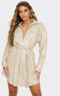 PrettyLittleThing Stone Faux Leather Zip Front Belted Long Sleeve Shirt Dress