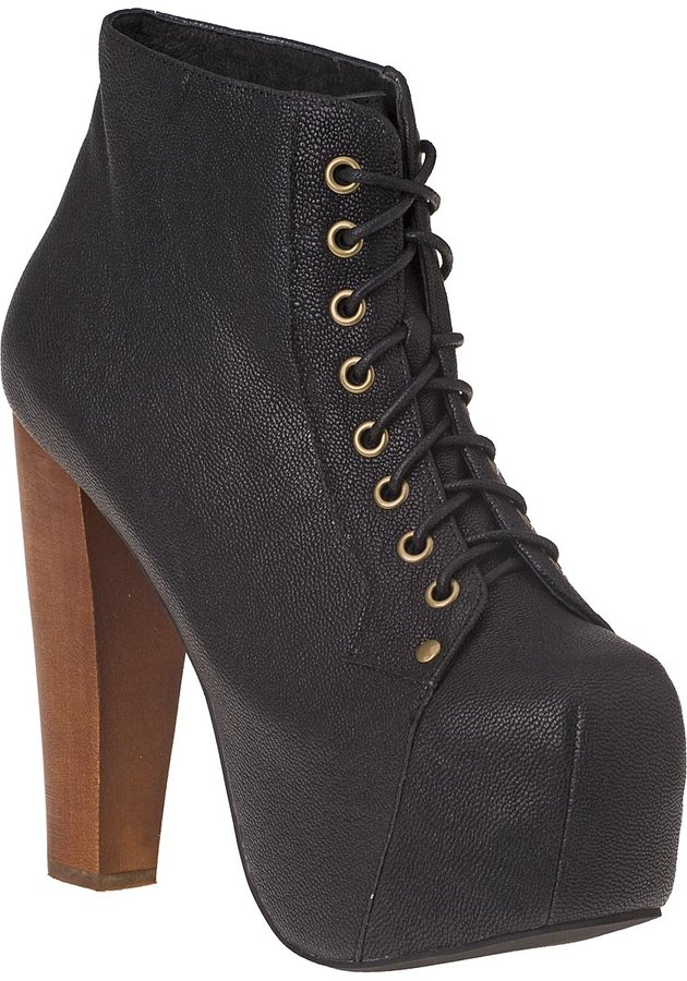 Jeffrey Campbell Lita Platform Bootie Black Leather