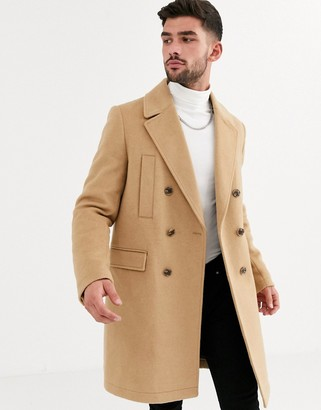 ASOS DESIGN wool mix double breasted overcoat in camel
