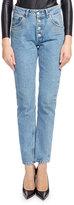 Balenciaga High-Waist Button-Fly Denim Cigarette Jeans, Blue