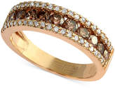 Effy Espresso by Brown and White Diamond Three-Row Ring (7/8 ct. t.w.) in 14k Gold