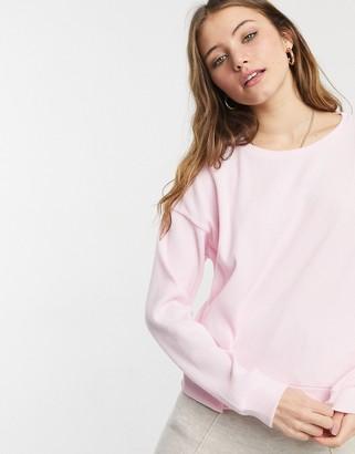 Chelsea Peers jersey rib balloon sleeve lounge top in pink
