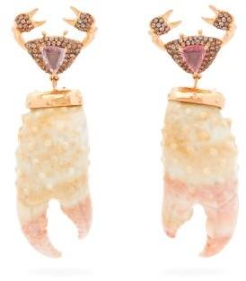 Daniela Villegas Attina Sapphire, Agate & 18kt Rose-gold Earrings - Pink Multi