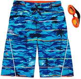 ZeroXposur Zero Xposur Palm-Tree Swim Trunks and Goggles Set - Boys 8-20