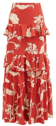 Johanna Ortiz Real Thinking Floral Silk-georgette Maxi Skirt - Red Multi