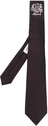 Alexander McQueen Logo Embroidered Silk Tie