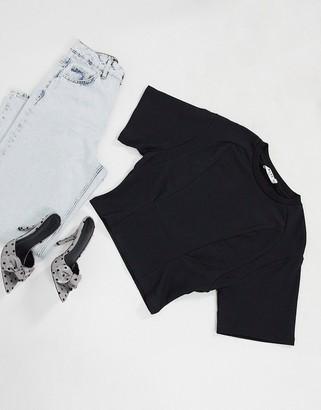 NA-KD waist detail crop t-shirt in black