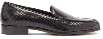 Emme Parsons Danielle Python-embossed Leather Loafers - Black