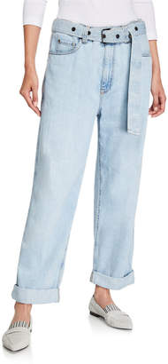 Brunello Cucinelli Grommet-Belted Relaxed-Fit Jeans