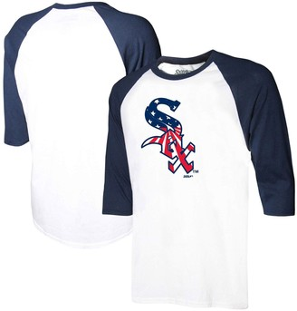 Stitches Men's White/Navy Chicago White Sox Stars & Stripes Americana Raglan 3/4-Sleeve T-Shirt