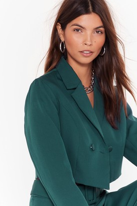 Nasty Gal Womens Follow Suit Double-Breasted Cropped Blazer - Teal