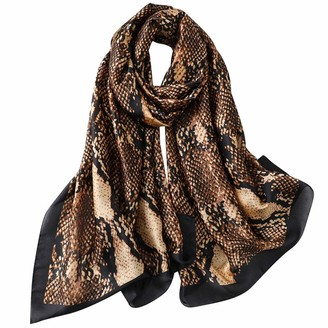 Trillion Silk Scarf For Women's Ladies Lightweight Animal Print Scarves Shawls Luxury Gift for Christmas (Green)