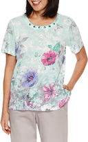 Alfred Dunner Mint To Be Short Sleeve Crew Neck T-Shirt