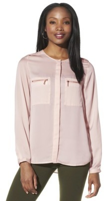 Mossimo Womens Long Sleeve Zip Pocket Top - Assorted Colors