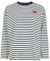Tee & cake Stripe heart embroidered sweatshirt